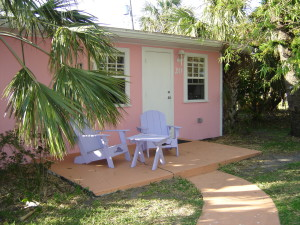 A pink Florida cottage at the River Palm Cottages and Fish Camp in Jensen Beach, Florida.
